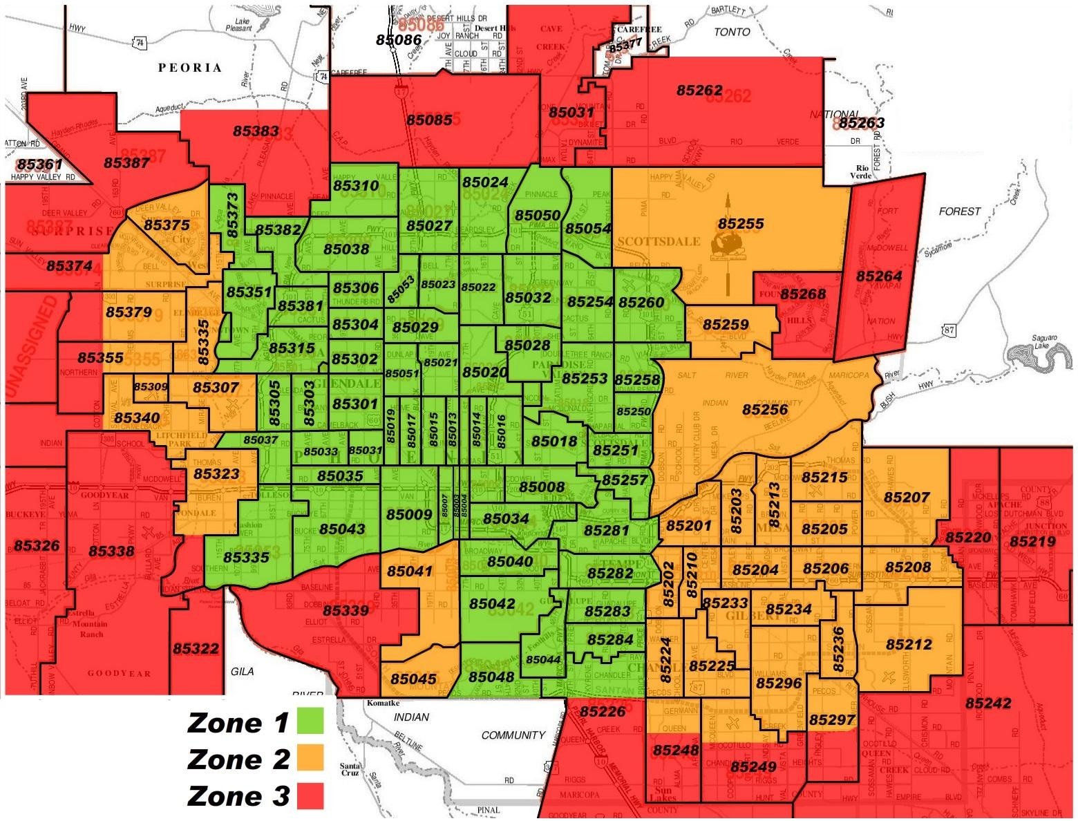 Phoenix Arizona Zip Code Map